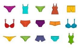 Ensemble d'icône de sous-vêtements, style d'ensemble de couleur illustration de vecteur