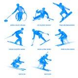 Ensemble d'icône de sports d'hiver Huit silhouettes des athlètes avec des incapacités Photo stock