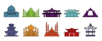 Ensemble d'icône de temple, style d'ensemble de couleur Photographie stock