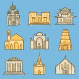 Ensemble d'icône de temple, style tiré par la main illustration libre de droits
