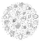 Ensemble d'icône de thé Ligne mince illustration de vecteur Photographie stock libre de droits