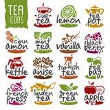 Ensemble d'icône de thé de vecteur Image stock