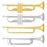 Ensemble d'icône de trompette, style réaliste illustration libre de droits