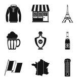 Ensemble d'icône de vêtements de Français, style simple Photo libre de droits