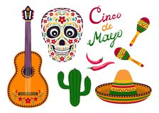 Ensemble d'icône de vecteur de Cinco de Mayo illustration stock