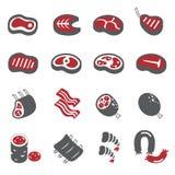 Ensemble d'icône de viande illustration stock