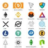 Ensemble d'icône de vingt cryptos pièces de monnaie les plus reconnaissables avec un nom signé pour chacun illustration libre de droits
