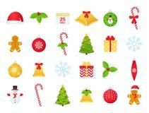 Ensemble d'icône d'hiver de Noël Illustration de vecteur dans la conception plate photo stock