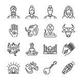 Ensemble d'icône d'Inde A inclus les icônes en tant que l'Indien, le hindi, le Ganesha, le henné, le cobra, la vache et plus illustration de vecteur