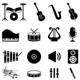 Ensemble d'icône d'instruments de musique Photographie stock libre de droits