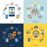 Ensemble d'icône d'interface utilisateurs de voix illustration stock