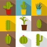 Ensemble d'icône d'usines de cactus, style plat Photos libres de droits