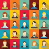 Ensemble d'icône d'utilisateur d'avatar, style plat illustration libre de droits