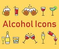 Ensemble d'icônes d'alcool de bande dessinée Icônes plates de vecteur pour la barre Collection de boissons d'alcool Photo libre de droits