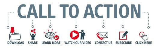 Ensemble d'icônes - appel à l'action illustration libre de droits