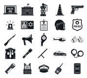 Ensemble d'icônes d'arsenal de police, style simple illustration stock