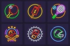 Ensemble d'icônes au néon pour les jeux sportifs Photographie stock