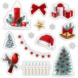 Ensemble d'icônes d'autocollants de Noël illustration de vecteur