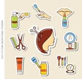 Ensemble d'icônes/autocollants de salon de filles avec l'ombre dans le style plat à la mode image stock