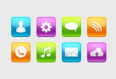 Ensemble d'icônes brillantes de bouton pour votre conception avec différents symboles illustration libre de droits