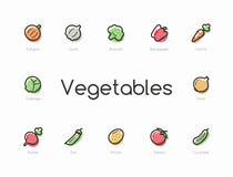 Ensemble d'icônes colorées de légumes Photographie stock