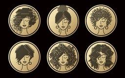 Ensemble d'icônes d'or de coiffures du ` s de femmes Photo libre de droits