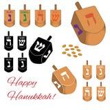Ensemble d'icônes de dreidels de Hanoucca d'isolement sur le fond blanc Illustration de vecteur Photographie stock libre de droits