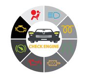 Ensemble d'icônes de groupe d'instrument de tableau de bord - codes de dtc, indicateurs de défaut de fonctionnement de moteur, il Photographie stock libre de droits