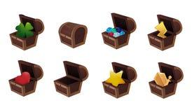 Ensemble d'icônes de jeu de magasin d'APP, illustration, article dans le coffre plein, coffre fermé et vide Image stock