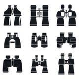 Ensemble d'icônes de jumelles de découverte, style simple illustration de vecteur
