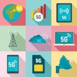 ensemble d'icônes de la technologie 5G, style plat illustration libre de droits