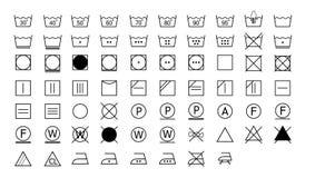 Ensemble d'icônes de lavage d'instructions illustration libre de droits