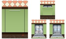 Ensemble d'icônes de machine de lave-vaisselle, style réaliste illustration libre de droits