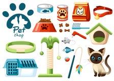 Ensemble d'icônes de magasin de bêtes Accessoires pour des chats Illustration plate Alimentation, jouets, cuvette, collier Produi Image stock