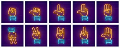 Ensemble d'icônes de néon de gestes de main Photos libres de droits