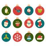 Ensemble d'icônes de Noël Image libre de droits