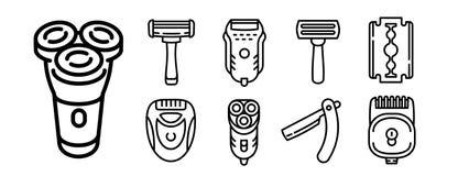 Ensemble d'icônes de rasoir, style d'ensemble illustration libre de droits
