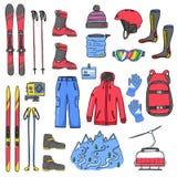 Ensemble d'icônes de ski de sport photo stock