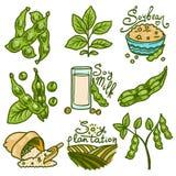 Ensemble d'icônes de soja, style tiré par la main illustration stock