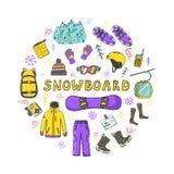 Ensemble d'icônes de surf des neiges en cercle images libres de droits