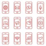 Ensemble d'icônes de téléphone portable dans la ligne style mince Icônes de Web de contact et de communication Photographie stock libre de droits