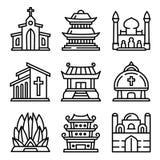 Ensemble d'icônes de temple, style d'ensemble illustration stock