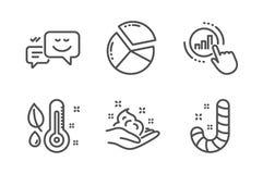 Ensemble d'icônes de thermomètre et circulaire de graphique de soins de la peau, Émotion, diagramme de graphique et signes heureu illustration libre de droits