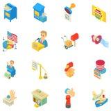Ensemble d'icônes de transmission vocale, style isométrique illustration libre de droits