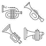 Ensemble d'icônes de trompette, style d'ensemble illustration de vecteur