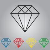 Ensemble d'icônes de vecteur de diamants Image libre de droits