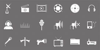Ensemble d'icônes de vecteur sur le thème de la connexion de media illustration stock