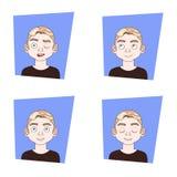 Ensemble d'icônes de visage de l'homme avec différentes expressions Guy Emotions Collection Illustration Stock