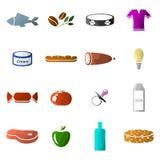 Ensemble d'icônes des départements dans un supermarché illustration stock