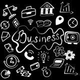 Ensemble d'icônes fabriquées à la main de finances d'affaires illustration libre de droits